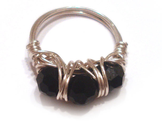 Black swarovski Wire wrapped Ring handmade jewelry