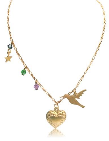 gold handmade necklaces charm swarovski beads humming bird