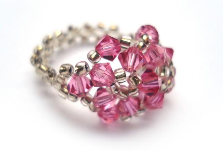 Hot Pink Swarovski Beaded Ring jewelry handmade