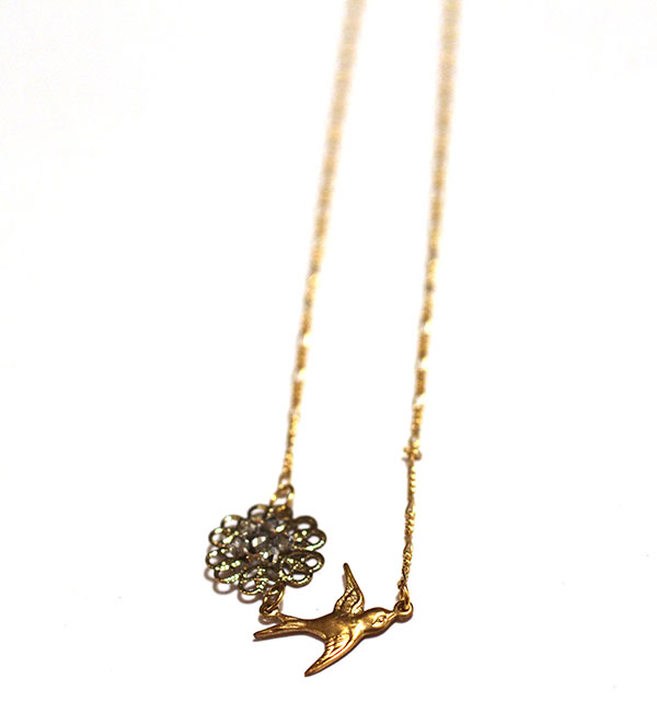 Gold Filled Necklace with Bird Charm
