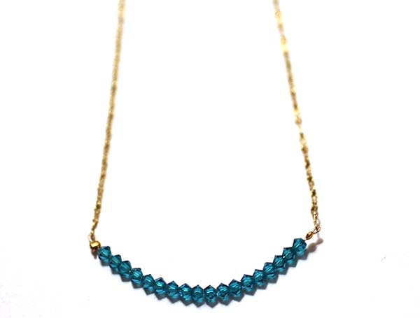 Sea green swarovski crystal beads on a gold filled chain