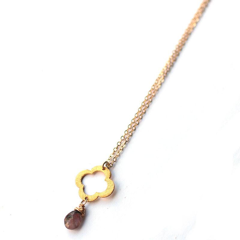 clover-long-necklace-with-gemstone-atlanta-ga-jewelry